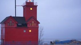 Красное озеро Macatawa Голландия Мичиган Великие озера маяк сток-видео