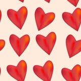 Красное лоснистое сияющее трехмерное сердце 3d на розовой предпосылке s Стоковые Фото