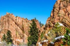 Красное открытое пространство Колорадо-Спрингс каньона утеса Стоковые Изображения RF