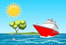 Красное плавание вкладыша круиза в океане, стоковые изображения