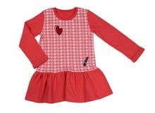 Красное платье хлопка Изолят на белизне Стоковая Фотография
