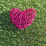 Красное плетеное сердце на зеленой траве на солнечный день Стоковые Изображения