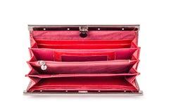 Красное портмоне на предпосылке изолированной белизной Стоковое фото RF