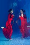 Красное платье подводное стоковое фото
