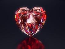 Красное сердце диаманта на черной предпосылке иллюстрация штока