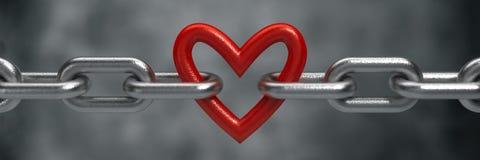 Красное сердце, который держит стальная цепь Стоковое Изображение RF