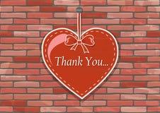Красное сердце на безшовной деревенской кирпичной стене - вектор Стоковое Фото