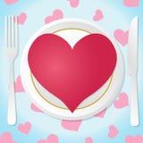 Красное сердце на белой иллюстрации вектора плиты Стоковые Изображения