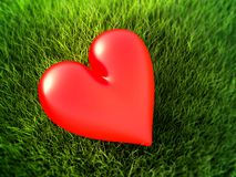 Красное сердце на траве иллюстрация штока
