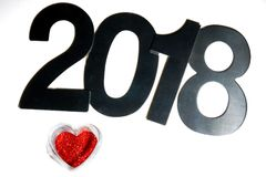 Красное сердце от sparkles и диаграмм Нового Года 2018 Стоковые Фотографии RF