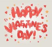 Красное сердце раздувает карточка дня ` s валентинки Концепция дня ` s влюбленности и валентинки вектор экрана иллюстрации 10 eps Стоковое Изображение