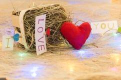 Красное сердце с надписью я тебя люблю вектор иллюстрации гирлянды рождества карточки предпосылки Стоковое Изображение