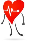 Красное сердце с электрокардиограммой Стоковая Фотография RF
