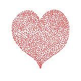 Красное сердце точек польки изолированное на белом backgrou Стоковое Изображение