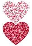 Красное сердце бабочки, вектор Стоковые Изображения RF