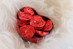 Красное сердце Валентайн формы влюбленности сердца карточки Стоковая Фотография RF