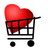 Красное сердце в вагонетке покупок Стоковая Фотография RF
