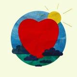 Красное сердце в голубом круге Стоковое фото RF