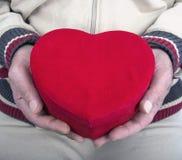 Красное сердце в его руках Стоковое Фото