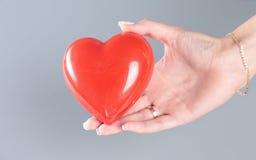 Красное сердце в руке женщины Стоковые Изображения RF