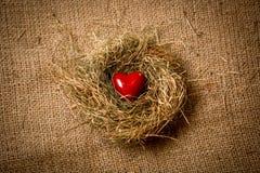 Красное сердце лежа в гнезде против linen ткани Стоковые Фото