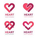 Красное сердце - дизайн логотипа вектора установленный Концепция медицины и здравоохранения Стоковые Фото