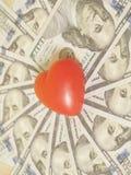 Красное сердце и 100 банкнот доллара Стоковые Изображения RF