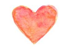 Красное сердце, иллюстратор акварели Стоковые Фотографии RF