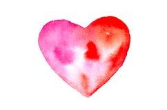 Красное сердце, иллюстратор акварели Стоковые Изображения RF