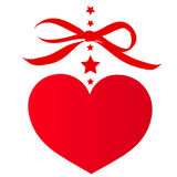 Красное сердце, на белизне иллюстрация штока