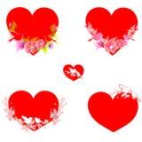 Красное сердце, на белизне Стоковое Изображение