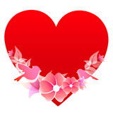 Красное сердце, на белизне Стоковые Изображения RF