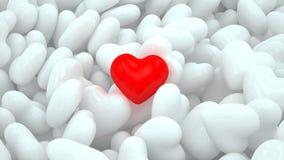 Красное сердце на белых сердцах иллюстрация штока