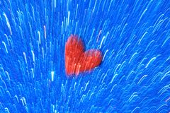 Красное сердце на голубой предпосылке цепи световых маяков - абстрактном искусстве цвета и хранителя экрана стоковое фото