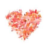Красное сердце от частицы фрактали на белых предпосылках Стоковые Изображения