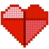 Красное сердце пиксела Стоковые Изображения