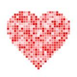 Красное сердце пиксела Стоковое Изображение