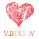 Красное сердце покрашенное в акварели на день ` s валентинки Стоковая Фотография