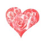 Красное сердце покрашенное в акварели на день ` s валентинки Стоковое Фото