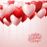 Красное сердце раздувает летание с картинами в белизне для приветствий валентинок бесплатная иллюстрация