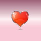 Красное сердце, розовая белая предпосылка, иллюстрация вектора Стоковое Изображение