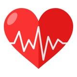 Красное сердце с значком электрокардиограммы плоским иллюстрация вектора