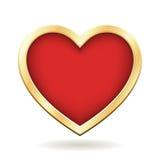 Красное сердце с золотой рамкой Стоковые Фото