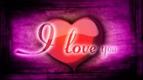 Красное сердце с оживленными предпосылкой и надписью я тебя люблю иллюстрация штока