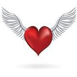 Красное сердце с символом влюбленности крыла Стоковые Фото