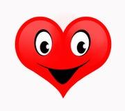 Красное сердце с счастливой усмехаясь стороной Стоковое фото RF