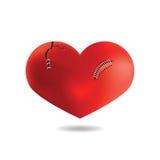 Красное сердце с шрамом, на белой предпосылке, вектор Стоковое Изображение