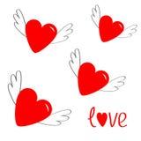 Красное сердце установленное с крылами Милый символ знака контура шаржа Подогнали сияющие сердца ангела Плоский стиль дизайна Пол Стоковые Фотографии RF