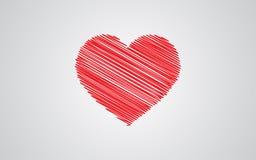 Красное сердце эскиза с днем ` s валентинки иллюстрация вектора