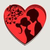 Красное сердце, 2 любовника Стоковое Изображение RF